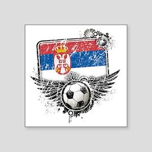 "Soccer fan Serbia Square Sticker 3"" x 3"""