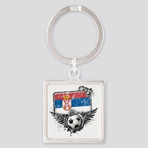 Soccer fan Serbia Square Keychain