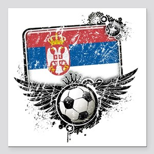 "Soccer fan Serbia Square Car Magnet 3"" x 3"""