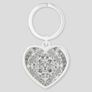aztec b Heart Keychain