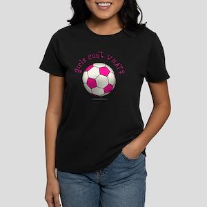 2-soccer2-pink Women's Dark T-Shirt