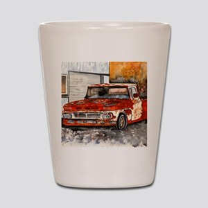 old pickup truck antique automobile Shot Glass
