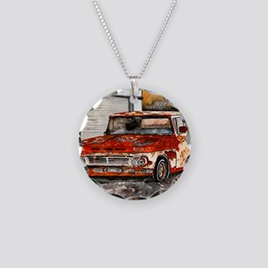 old pickup truck antique aut Necklace Circle Charm