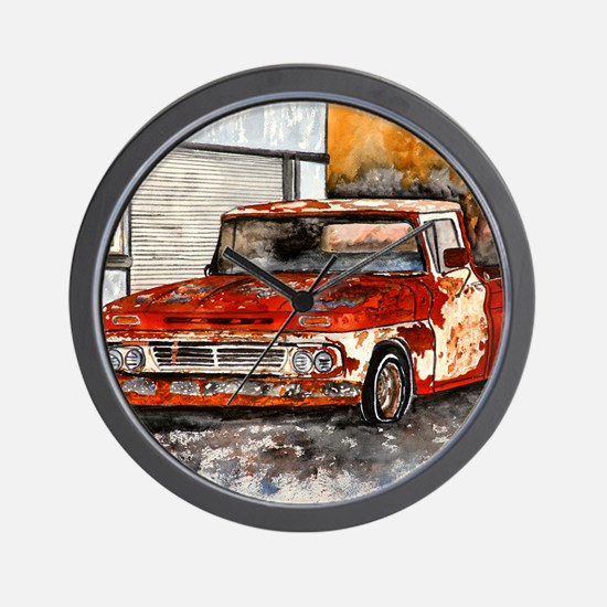old pickup truck antique automobile Wall Clock