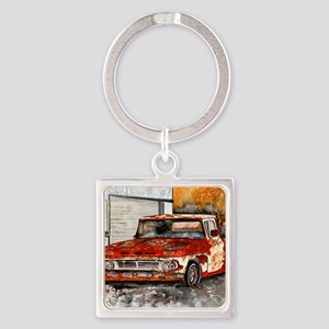 old pickup truck antique automobil Square Keychain