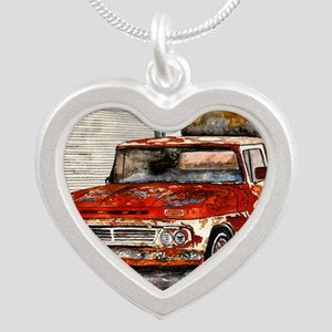 old pickup truck antique aut Silver Heart Necklace