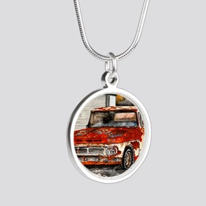 old pickup truck antique aut Silver Round Necklace