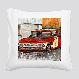 old pickup truck antique auto Square Canvas Pillow