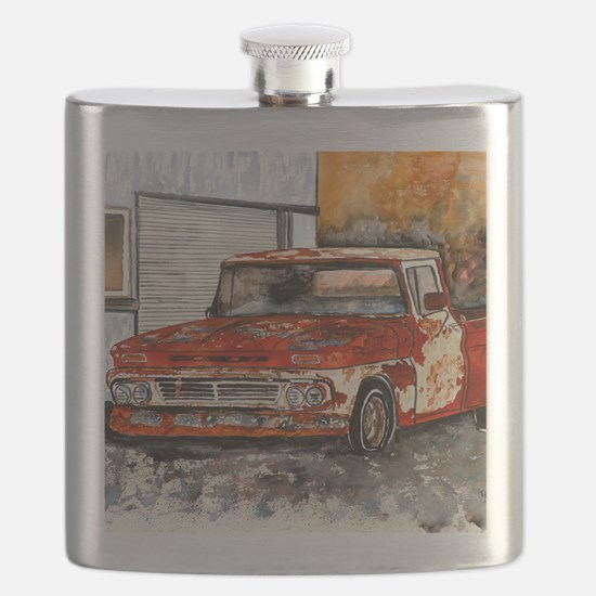 old pickup truck antique automobile Flask