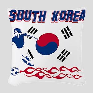 Soccer flag designs Woven Throw Pillow
