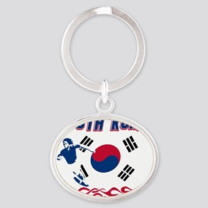 Soccer flag designs Oval Keychain