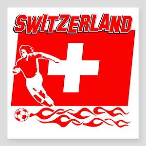 "Soccer flag designs Square Car Magnet 3"" x 3"""