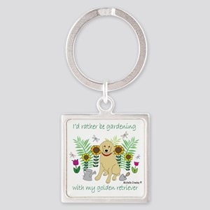 3-GoldenRetriever Square Keychain