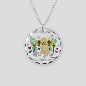 3-GoldenRetriever Necklace Circle Charm