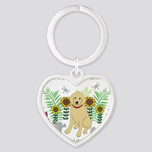 3-GoldenRetriever Heart Keychain