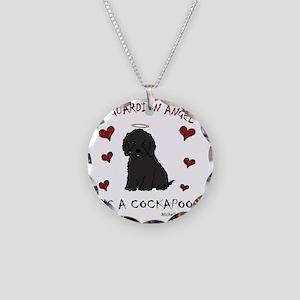 CockapooBlk Necklace Circle Charm