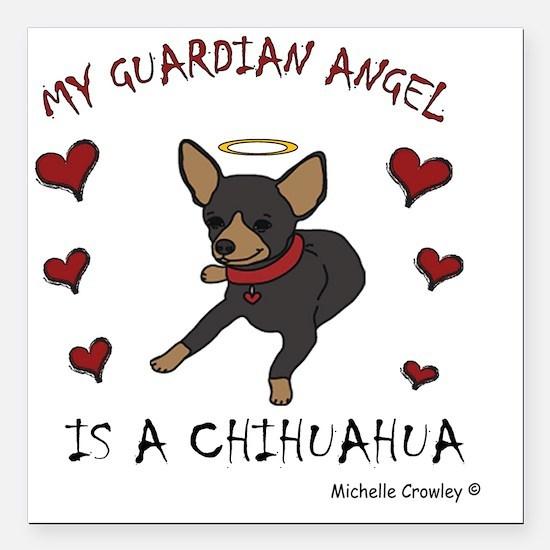 "ChihuahuaBlkTan Square Car Magnet 3"" x 3"""
