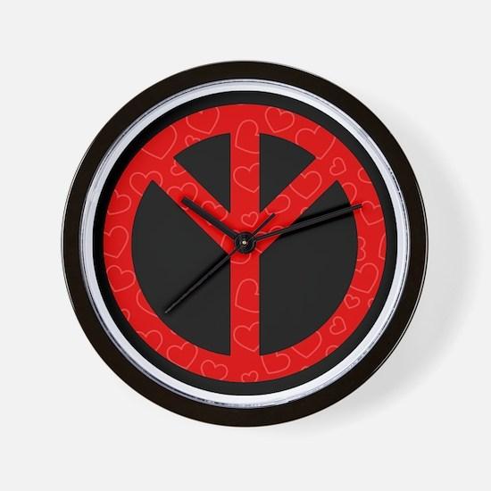 Turn The Peace Up Red Hearts w/o logo Wall Clock