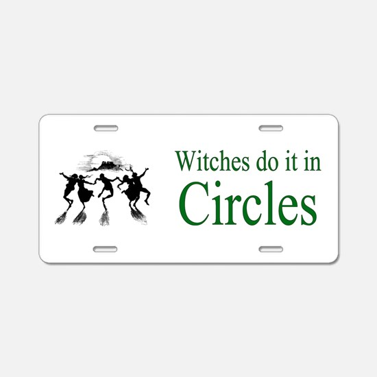 Witches in Circles Aluminum License Plate