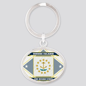 Rhode Island diamond Oval Keychain
