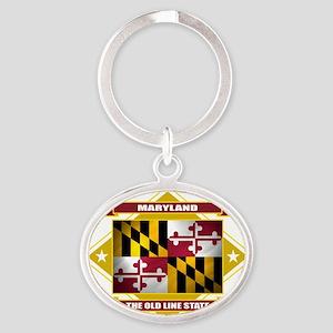 Maryland diamond Oval Keychain