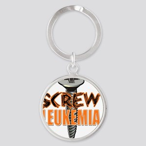 Screw Leukemia Round Keychain