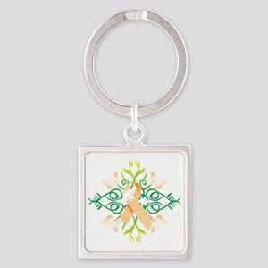 Orange Survivor Square Keychain