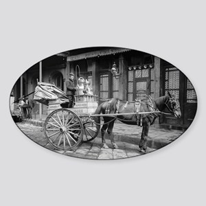 Milk Delivery Cart Sticker (Oval)