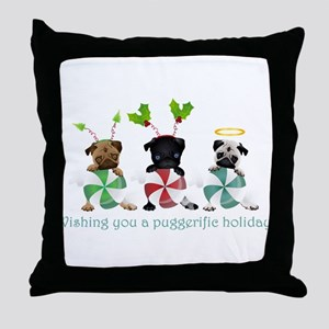 Have A Puggerific Holiday Throw Pillow