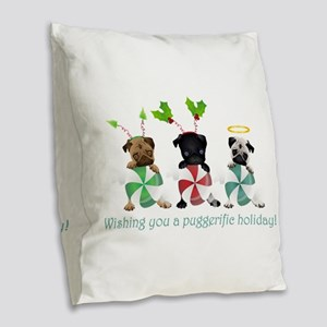 Have A Puggerific Holiday Burlap Throw Pillow