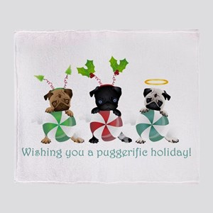 Have A Puggerific Holiday Throw Blanket