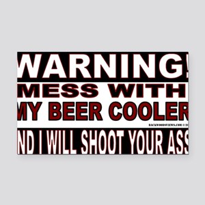 WARNING MESS WITH MY BEER COO Rectangle Car Magnet