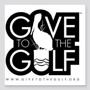 """Give_ToThe_Gulf_BW_logo. Square Car Magnet 3"""" x 3"""""""