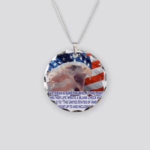 Veteran Blank Check Necklace Circle Charm