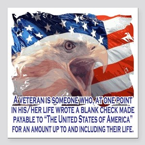 "Veteran Blank Check Square Car Magnet 3"" x 3"""