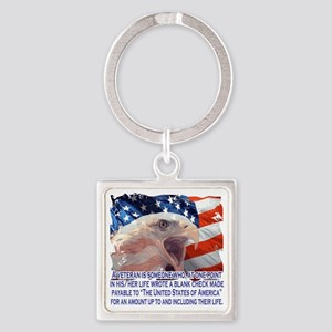 Veteran Blank Check Square Keychain