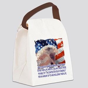 Veteran Blank Check Canvas Lunch Bag