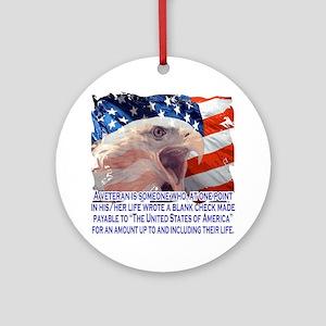 Veteran Blank Check Round Ornament
