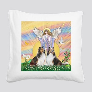 Blessings - 2 Shelties - squa Square Canvas Pillow