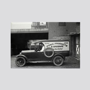 Meat Market Delivery Truck Rectangle Magnet