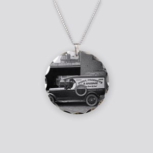 Meat Market Delivery Truck Necklace Circle Charm