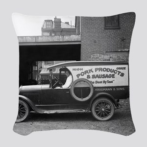 Meat Market Delivery Truck Woven Throw Pillow