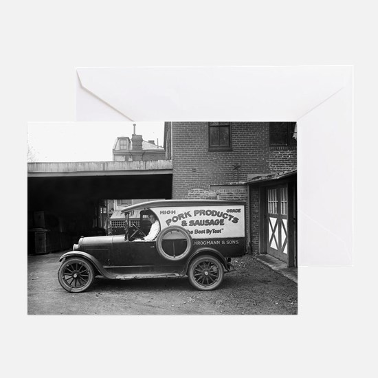 Meat Market Delivery Truck Greeting Card