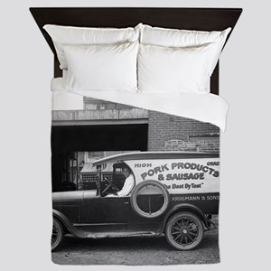 Meat Market Delivery Truck Queen Duvet