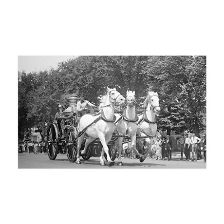 Fire Department Horses 35x21 Wall Decal