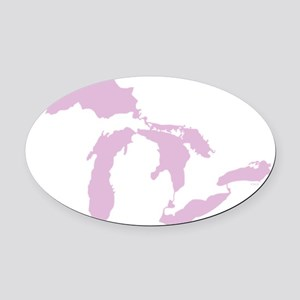 Great_Lakes_Pink_15.35_x_15.35 Oval Car Magnet