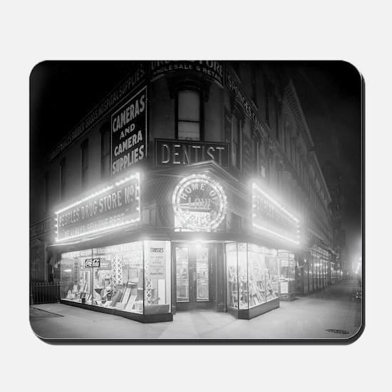 Corner Store At Night Mousepad