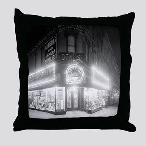 Corner Store At Night Throw Pillow