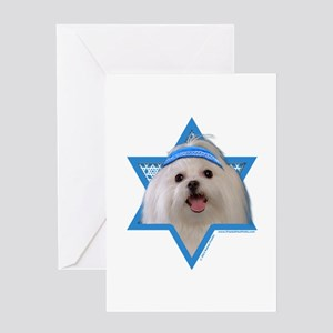 Hanukkah Star of David - Maltese Greeting Card