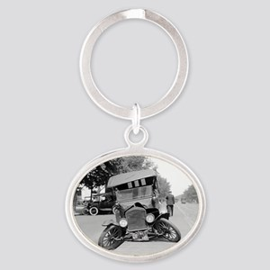 Crashed Ford Model T Oval Keychain